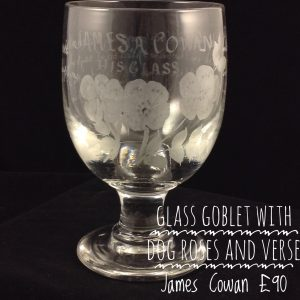 Engraved glass goblet