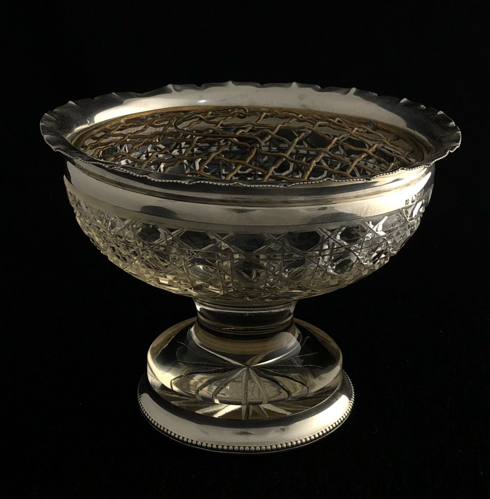 Silver and crystal rose bowl